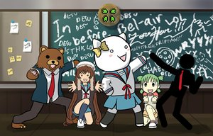 Rating: Safe Score: 71 Tags: 2ch 4chan animal bear cosplay crossover jojo_no_kimyou_na_bouken koiwai_yotsuba moot parody pedobear rozen_maiden suiseiseki suzumiya_haruhi_no_yuutsu yotsubato! User: Oyashiro-sama