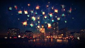 Rating: Safe Score: 35 Tags: building city craft-cs night original scenic school_uniform sky stars User: FormX
