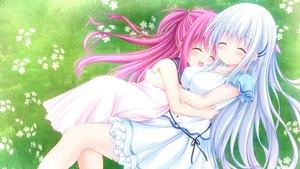 Rating: Safe Score: 61 Tags: 2girls grass hug katou_umi kouduki_miyabi naruse_shiroha summer_pockets User: aaayu