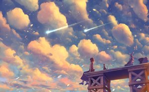 Rating: Safe Score: 63 Tags: animal bou_nin cat clouds motorcycle original short_hair skirt sky sunset User: RyuZU