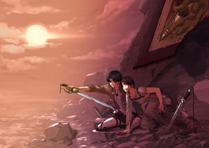 Rating: Safe Score: 70 Tags: all_male beach black_hair blonde_hair brown_hair clouds eren_jaeger levi_ackerman male red_hair shingeki_no_kyojin shirano short_hair sky sunset sword uniform water weapon User: Maboroshi