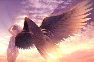 Rating: Safe Score: 74 Tags: clouds dress gray_hair green_eyes long_hair original ryouku see_through sky summer_dress sunset wings User: BattlequeenYume