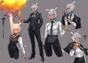 Rating: Safe Score: 3 Tags: animal_ears catgirl dark_skin final_fantasy final_fantasy_xiv fire gloves gray gray_eyes haimerejzero miqo'te shirt short_hair suit tail tattoo y'shtola_rhul User: SciFi