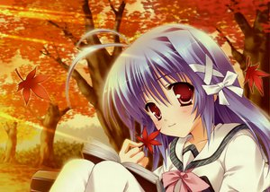 Rating: Safe Score: 21 Tags: aoi_kokona autumn book hinamatsuri_touko leaves mikoko school_uniform User: 秀悟