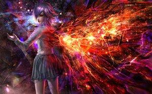 Rating: Safe Score: 105 Tags: fire kirishima_touka magic purple_hair red_eyes sangrde school_uniform skirt stars tokyo_ghoul watermark User: mattiasc02