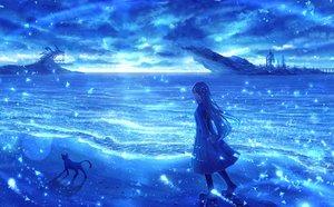 Rating: Safe Score: 53 Tags: animal blue bou_nin cat clouds long_hair original polychromatic scenic sky water User: mattiasc02