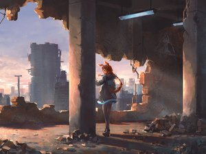 Rating: Safe Score: 34 Tags: amiya_(arknights) animal_ears arknights building bunny_ears city clouds ikori long_hair pantyhose red_hair ruins scenic sky sunset User: BattlequeenYume