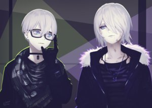 Rating: Safe Score: 27 Tags: blue_eyes glasses gloves hekoheko male necklace nier nier:_automata short_hair signed white_hair yorha_unit_no._2_type_a yorha_unit_no._9_type_s User: BattlequeenYume