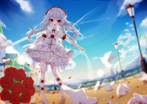 Rating: Safe Score: 74 Tags: animal bird bow clouds cross fang flowers fufumi headdress honkai_impact loli lolita_fashion long_hair petals red_eyes rose sky theresa_apocalypse white_hair User: otaku_emmy