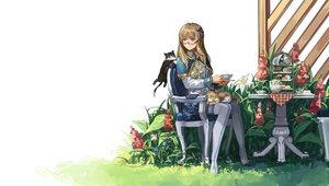Rating: Safe Score: 60 Tags: animal blonde_hair blue_eyes cape cat drink flowers food glasses grass hood rff_(3_percent) thighhighs zhanjian_shaonu User: mattiasc02