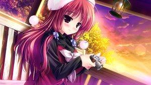 Rating: Safe Score: 165 Tags: blush camera clochette game_cg hat prism_recollection red_hair renjou_sayaka shintaro sunset User: Wiresetc
