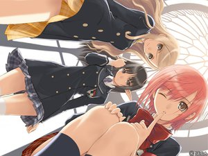 Rating: Safe Score: 149 Tags: black_eyes black_hair bow brown_eyes brown_hair kanon_seena pointed_ears red_hair school_uniform shining_wind short_hair taka_tony touka_kureha watermark wink xecty_ein User: rargy