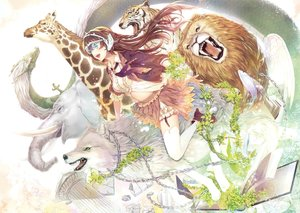 Rating: Safe Score: 45 Tags: alpha_(alpha91) animal aqua_eyes book braids brown_hair chain dragon elephant fish flowers lion long_hair scan skirt thighhighs tiger wings wolf User: RyuZU