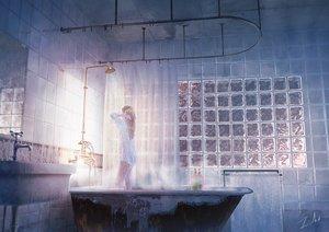 Rating: Safe Score: 91 Tags: bath bathtub blonde_hair long_hair naked_shirt no_bra original see_through shirt shower signed tamaki_(tamaki_illust) water User: otaku_emmy