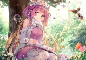 Rating: Safe Score: 15 Tags: animal bicolored_eyes bird blush book bow bubbles daefny flowers grass long_hair purple_hair signed tree watermark User: BattlequeenYume