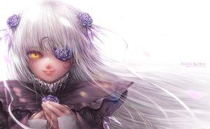 Rating: Safe Score: 56 Tags: eyepatch flowers goth-loli kirakishou lolita_fashion long_hair misaki_(kyal_001) rose rozen_maiden white_hair yellow_eyes User: luckyluna
