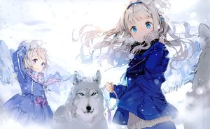 Rating: Safe Score: 131 Tags: 2girls animal anmi aqua_eyes braids cropped gray_hair green_eyes headband long_hair scarf short_hair snow winter wolf User: BattlequeenYume