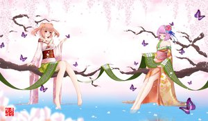 Rating: Safe Score: 66 Tags: 2girls barefoot butterfly cherry_blossoms dusk/dawn flowers hieda_no_akyuu japanese_clothes kimono motoori_kosuzu touhou tree water User: FormX