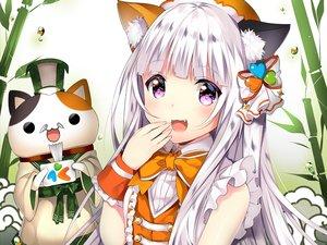 Rating: Safe Score: 105 Tags: animal animal_ears blush bow cat catgirl cat_smile cropped dress duji_amo long_hair original purple_eyes waifu2x white_hair User: Eleanor