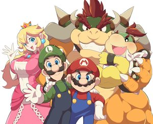 Rating: Safe Score: 53 Tags: aqua_eyes blonde_hair bowser bowser_jr. breasts brown_hair crown dress elbow_gloves fang gloves group hat jpeg_artifacts long_hair luigi male mario ponytail princess_peach red_hair super_mario zabumaku User: mattiasc02