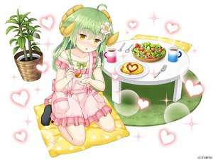 Rating: Safe Score: 9 Tags: animal_ears apron asatsuki_(monmusu_harem) blush drink flat_chest food green_hair heart horns loli long_hair monmusu_harem namaru_(summer_dandy) socks yellow_eyes User: otaku_emmy