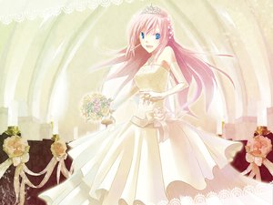 Rating: Safe Score: 41 Tags: blue_eyes elbow_gloves flowers gloves megurine_luka pink_hair tiara vocaloid wedding wedding_attire User: HawthorneKitty