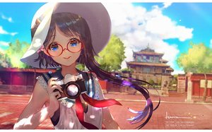Rating: Safe Score: 50 Tags: blue_eyes building camera clouds glasses original say_hana sky watermark User: BattlequeenYume