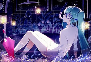 Rating: Safe Score: 132 Tags: aqua_eyes aqua_hair goggles hatsune_miku lococo:p long_hair naked_shirt shirt socks twintails umbrella vocaloid User: luckyluna
