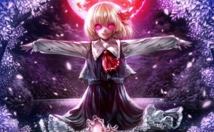 Rating: Safe Score: 95 Tags: blonde_hair blood clouds dark fang forest leaves misaki_(kyal_001) moon night pink_eyes rumia short_hair skirt sky stars touhou tree water User: luckyluna