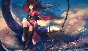 Rating: Safe Score: 92 Tags: black_hair boots chain clouds fate/grand_order fate_(series) flowers ishtar_(fate/grand_order) japanese_clothes long_hair pink_eyes rean_(r_ean) signed sky umbrella User: RyuZU