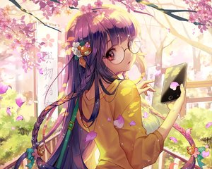 Rating: Safe Score: 57 Tags: braids cherry_blossoms dress gang_road glasses long_hair petals phone purple_hair red_eyes soo_kyung_oh User: mattiasc02