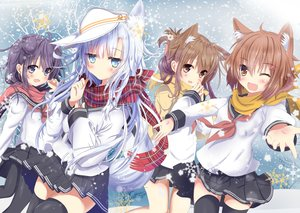 Rating: Safe Score: 63 Tags: akatsuki_(kancolle) aliasing animal_ears anthropomorphism aruka_(alka_p1) blue_eyes brown_eyes brown_hair foxgirl hat hibiki_(kancolle) ikazuchi_(kancolle) inazuma_(kancolle) kantai_collection long_hair pantyhose purple_eyes purple_hair scarf seifuku short_hair skirt snow tail thighhighs tree verniy_(kancolle) white_hair yellow_eyes User: BattlequeenYume