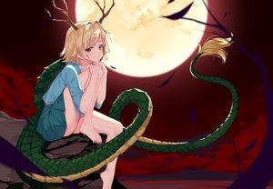 Rating: Safe Score: 87 Tags: aoi_(buzhuen444) barefoot blonde_hair horns kicchou_yachie moon red red_eyes short_hair skirt tail touhou User: otaku_emmy