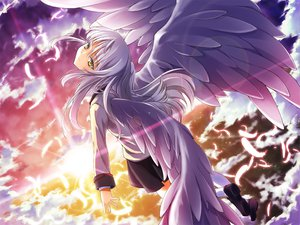 Rating: Safe Score: 70 Tags: angel_beats! clouds feathers long_hair scenic school_uniform skirt sky tachibana_kanade white_hair wings yellow_eyes User: HawthorneKitty