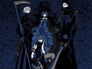 Rating: Safe Score: 48 Tags: blue chain clamp dark dress fay_d_flourite glasses group kurogane sakura_(tsubasa) scythe sword syaoran tsubasa_reservoir_chronicle weapon User: Oyashiro-sama