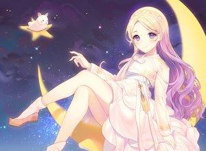 Rating: Safe Score: 62 Tags: a20_(atsumaru) blonde_hair blush braids dress long_hair moon original purple_eyes socks stars User: BattlequeenYume