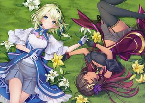 Rating: Safe Score: 62 Tags: 2girls aria_project_2.0 black_hair blue_eyes breasts cleavage dark_skin flowers garter_belt gloves grass green_hair jpeg_artifacts long_hair navel ne-on petals pointed_ears senjou_aria short_hair skirt sleeping stockings thighhighs yoruno_noah User: RyuZU