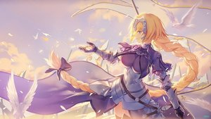 Rating: Safe Score: 49 Tags: animal atdan bird blonde_hair bow braids breasts chain dress elbow_gloves fate/grand_order fate_(series) gloves headdress jeanne_d'arc_(fate) long_hair ponytail purple_eyes signed thighhighs User: luckyluna