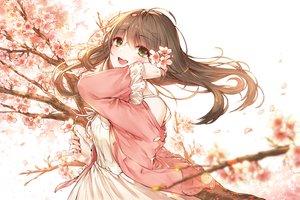 Rating: Safe Score: 64 Tags: blush brown_hair cherry_blossoms dress flowers green_eyes kh_(kh_1128) long_hair original petals summer_dress User: RyuZU