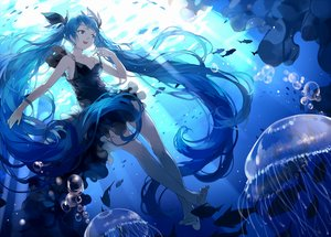 Rating: Safe Score: 94 Tags: animal barefoot blue_eyes blue_hair bubbles deep-sea_girl_(vocaloid) dress fish hatsune_miku long_hair nine_(liuyuhao1992) twintails underwater vocaloid water User: FormX