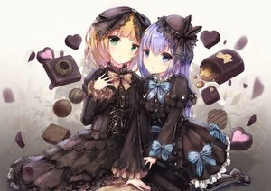 Rating: Safe Score: 48 Tags: 2girls apple228 aqua_eyes blonde_hair blush bow dress flowers gochuumon_wa_usagi_desu_ka? goth-loli green_eyes hat kafuu_chino kirima_sharo loli lolita_fashion long_hair petals rose short_hair valentine User: RyuZU