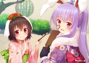Rating: Safe Score: 51 Tags: 2girls animal_ears blush brown_hair bunny_ears bunnygirl flowers gloves inaba_tewi japanese_clothes kimono loli long_hair nnyara purple_hair red_eyes reisen_udongein_inaba short_hair touhou watermark User: RyuZU