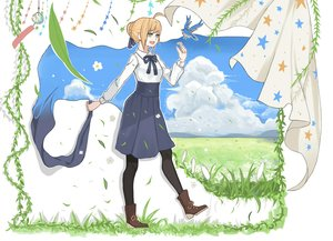 Rating: Safe Score: 18 Tags: animal aqua_eyes bird blonde_hair boots clouds fate_(series) fate/stay_night grass leaves saber skirt sky stockings tagme_(artist) User: otaku_emmy