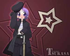 Rating: Safe Score: 3 Tags: bandage blush flat_chest hat hiiragi_tsukasa lucky_star purple_eyes purple_hair red short_hair stars sword weapon User: Oyashiro-sama