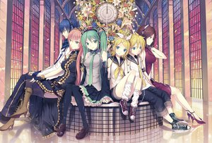 Rating: Safe Score: 124 Tags: blue_eyes blue_hair boots brown_hair dress flowers green_eyes green_hair group hatsune_miku headphones kagamine_len kagamine_rin kaito kichiroku long_hair male megurine_luka meiko pink_hair red_eyes ribbons short_hair skirt thighhighs tie twintails vocaloid User: pantu