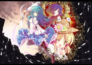 Rating: Safe Score: 29 Tags: blonde_hair clouds flowers hat japanese_clothes kochiya_sanae long_hair miko moriya_suwako north_abyssor pantyhose purple_hair red_eyes short_hair sky touhou wink yasaka_kanako yellow_eyes User: Xtea