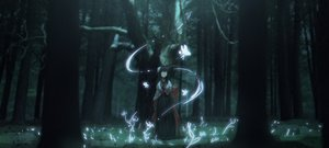 Rating: Safe Score: 60 Tags: black_hair dark fairy forest japanese_clothes long_hair magic manha_utsutsuki original tree User: BattlequeenYume
