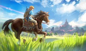 Rating: Safe Score: 50 Tags: achyue all_male animal blonde_hair boots building clouds gloves grass horse link_(zelda) long_hair male pointed_ears ponytail scenic sky sword the_legend_of_zelda weapon User: otaku_emmy