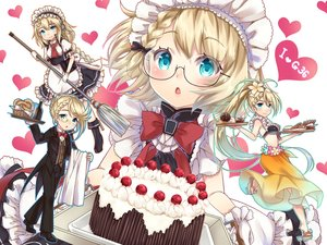 Rating: Safe Score: 22 Tags: anthropomorphism apron aqua_eyes baretto bikini_top blonde_hair blush bow braids cake cherry drink food fruit g36_(girls_frontline) girls_frontline glasses gloves headdress long_hair maid ponytail short_hair User: RyuZU