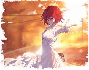 Rating: Safe Score: 57 Tags: arknights asa_ni_haru blush breasts cleavage dress exusiai_(arknights) orange_eyes red_hair short_hair summer_dress User: Dreista